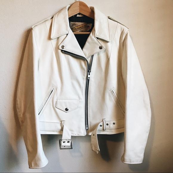 f8b73744e Schott |Vintage white leather Perfecto moto jacket